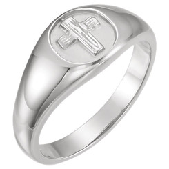 Sterling Silver Rugged Cross Ring