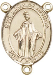 """Our Lady of Africa - .75"""" Oval - Gold Filled Centerpiece"""