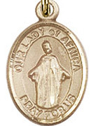 "Our Lady of Africa - .50"" Oval - Gold Filled Side Medal"