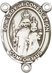 """Our Lady of  Consolation - .75"""" Oval - Sterling Silver Centerpiece"""