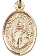"Our Lady of Consolation  - .50"" Oval - Gold Filled Side Medal"