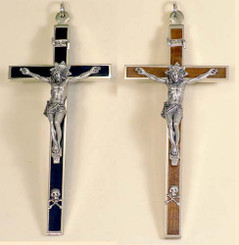 Ebony and rosewood nickel silver crucifix