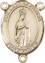"""Our Lady of Fatima - .75"""" Oval - Gold Filled Centerpiece"""