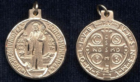 """St. Benedict Medal - .625"""" - Gold Filled Side Medal"""