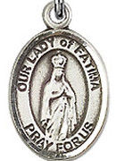 "Our Lady of Fatima  - .50"" Oval - Sterling Silver Side Medal"