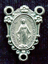 "Floral Miraculous Medal - .75"" - Nickel Silver Centerpiece"