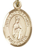 "Our Lady of Fatima - .50"" Oval - Gold Filled Side Medal"