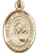 "Our Lady of Good Counsel - .50"" Oval - Gold Filled Side Medal"
