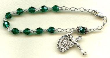 SAMPLE Nickel Silver Austrian Crystal Rosary Bracelet