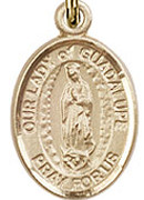 "Our Lady of Guadalupe - .50"" Oval - Gold Filled Side Medal"