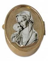 Madonna and Child Rosary Box - brass