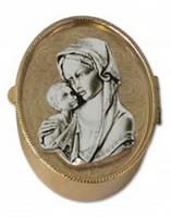 Madonna and Child Rosary Box - brass