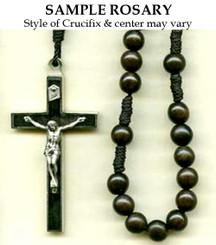 Ebony Wood Cord Rosary