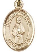 "Our Lady of Hope - .50"" Oval - Gold Filled Side Medal"