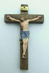 "Handcarved Handpainted Crucifix - 2"" - wood"