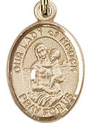 "Our Lady of Knock - .50"" Oval - Gold Filled Side Medal"