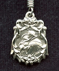 """St. Anthony of Padua Medal with Flower Border - .75"""" - Sterling Silver"""