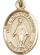 "Our Lady of Lebanon - .50"" Oval - Gold Filled Side Medal"