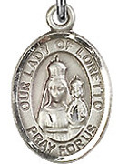 "Our Lady of Loretto - .50"" Oval - Sterling Silver Side Medal"
