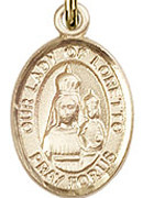 "Our Lady of Loretto - .50"" Oval - Gold Filled Side Medal"