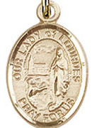 "Our Lady of Lourdes - .50"" Oval - Gold Filled Side Medal"
