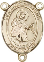 """Our Lady of Mercy - .75"""" Oval - Gold Filled Centerpiece"""