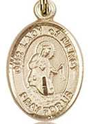"Our Lady of Mercy  - .50"" Oval - Gold Filled Side Medal"