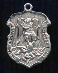 "St. Michael Shield Medal - 1"" - Sterling Silver"