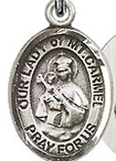 "Our Lady of Mount Carmel - .50"" Oval - Sterling Silver Side Medal"