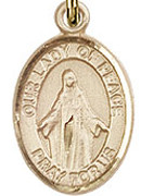 """Our Lady of Peace - .50"""" Oval - Gold Filled Side Medal"""