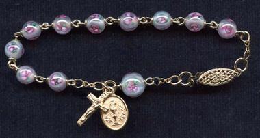 SAMPLE Gold Filled Czech Lampwork Rosary Bracelet