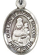 "Our Lady of Prompt Succor - .50"" Oval - Sterling Silver Side Medal"