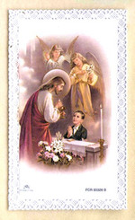 Lace First Holy Communion Card - Boy