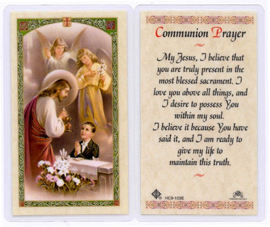 Laminated First Holy Communion Card - Boy