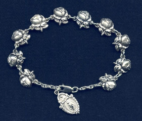 Patron Saint Rose Rosary Bracelet