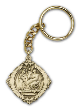 Holy Family key chain with gold finish