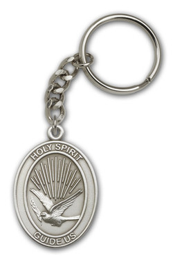 Holy Spirit key chain with silver finish