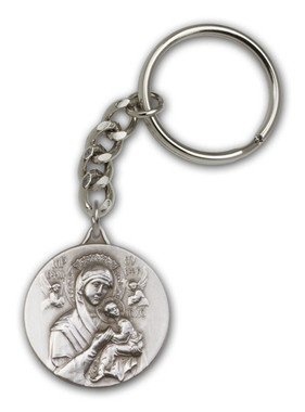 Our Lady of Perpetual Help key chain with silver finish