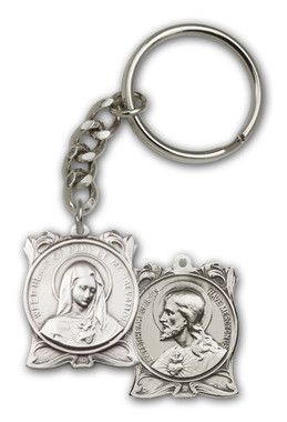 Sacred Hearts key chain with silver finish
