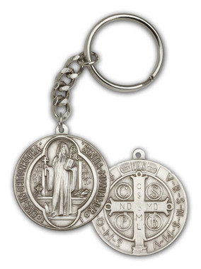 St. Benedict key chain with silver finish