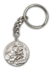 St. Anthony key chain with silver finish