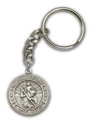 St. Christopher key chain with silver finish