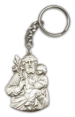 St. Joseph key chain with silver finish