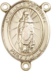 """Our Lady of Tears - .75"""" Oval - Gold Filled Centerpiece"""