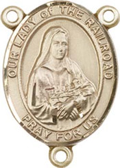 """Our Lady of the Railroad - .75"""" Oval - Gold Filled Centerpiece"""