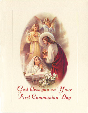 First Communion Card for Girls
