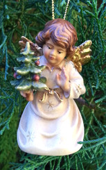 Woodcarved Angel with Tree Ornament