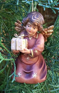 Woodcarved Angel with Gift Ornament
