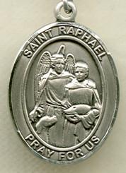 """$13.95 - St. Raphael - .75"""" - Pewter Medal"""
