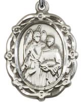 Floral St. Raphael Medal - sterling silver
